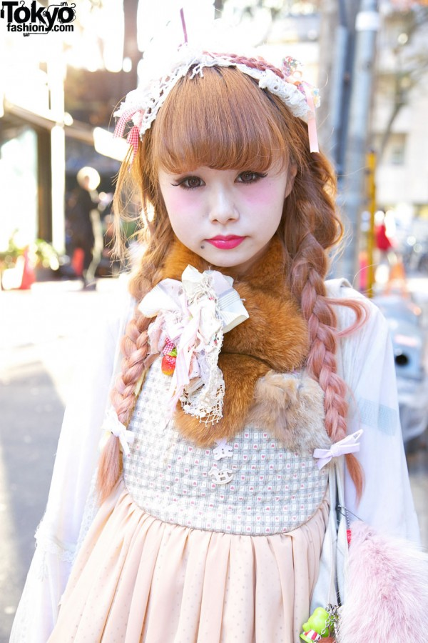 MXE Apron & Pink Braids in Harajuku