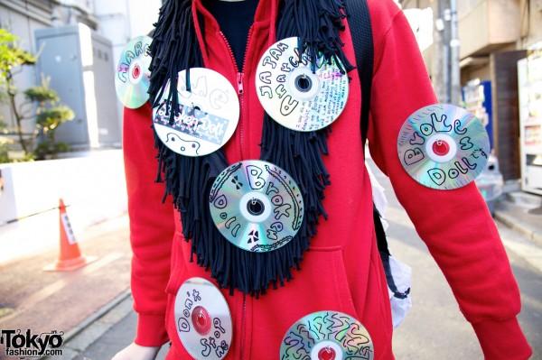 Handmade CD Hoodie in Harajuku