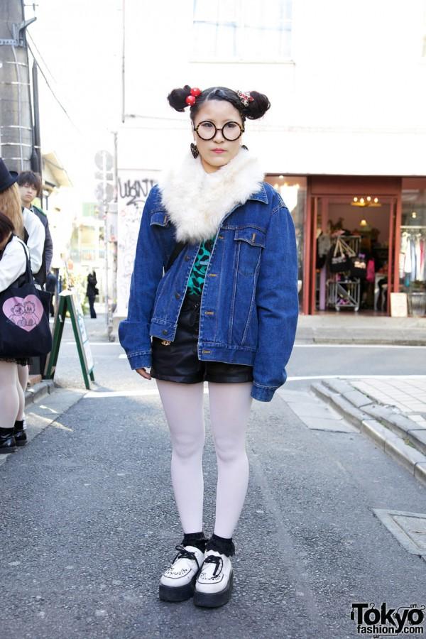 Girl's Denim Jacket, Fur Collar & Leather Shorts from Border's