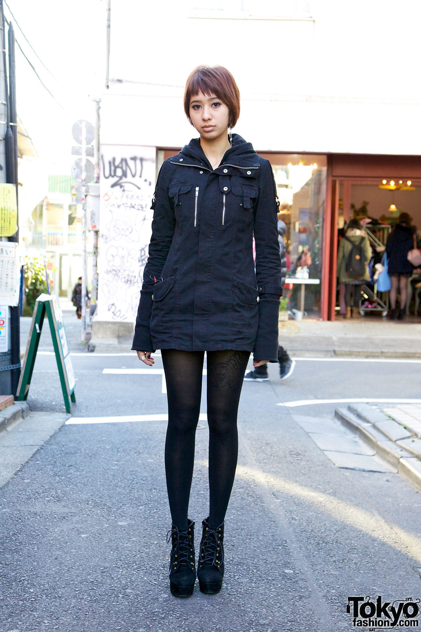 Japanese Girl W Tiger Tattoo Cute Short Hairstyle Booties Tokyo Fashion