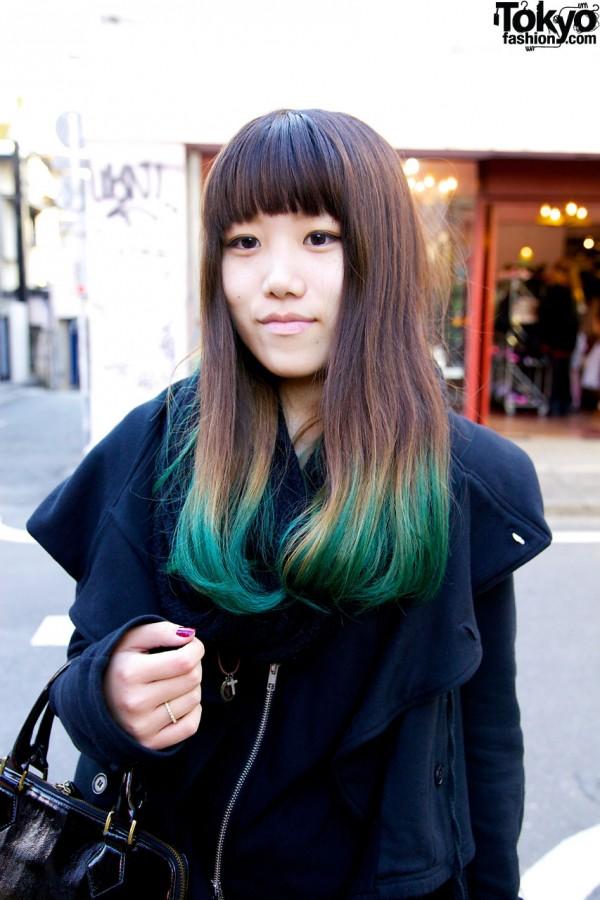 Girl's green-tipped hair in Harajuku