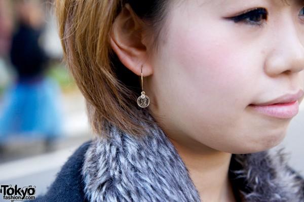 Small coin earrings in Harajuku
