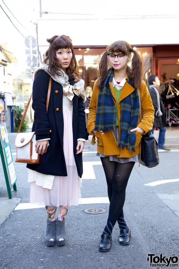 Akari and Sakura Wearing Vintage & Resale Fashion in Harajuku