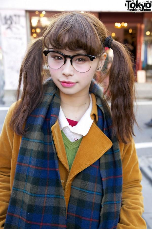 Glasses & Pig Tails in Harajuku