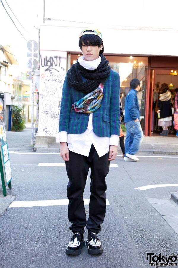 Harajuku Guy's Map Cap, Boy Bag, Uniqlo Pants & Snood Scarf