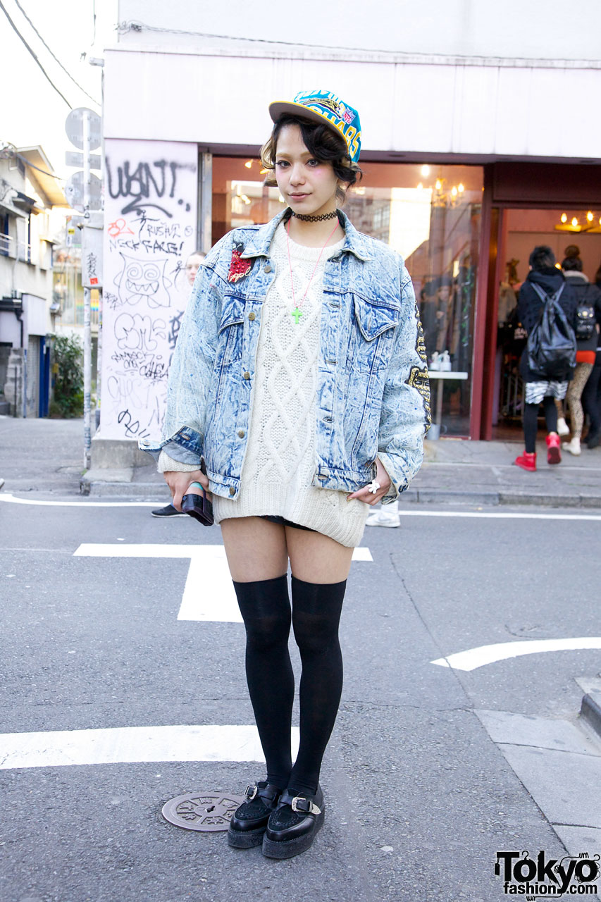 Una in Cable Knit Sweater in Harajuku