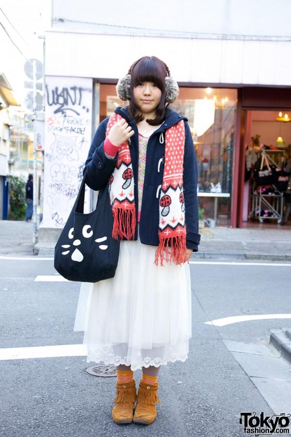 Mushroom scarf & hooded toggle jacket in Harajuku