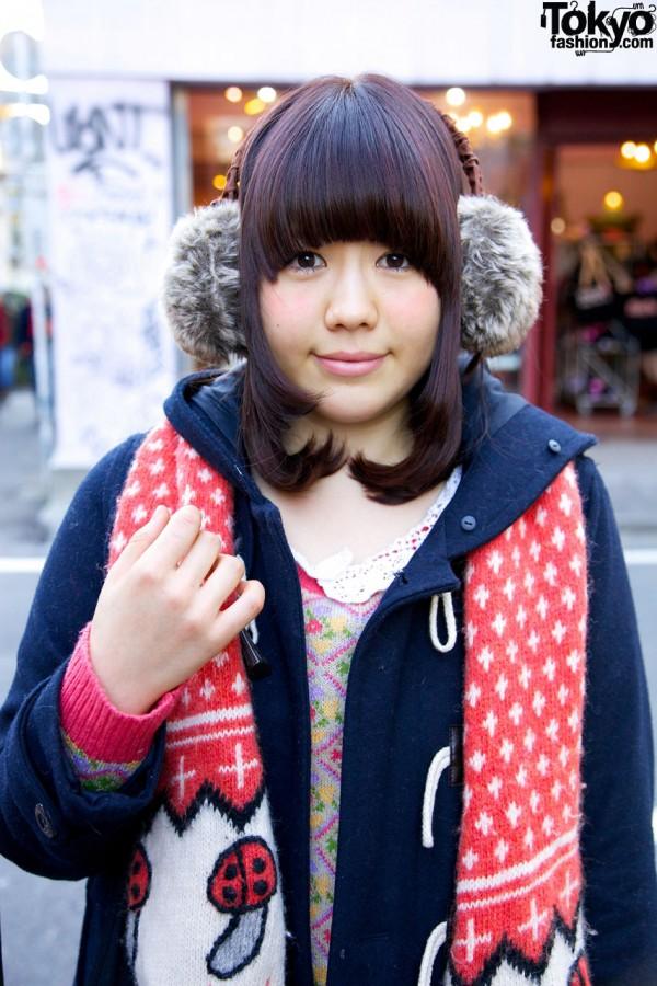 Fur earmuffs & hooded jacket in Harajuku