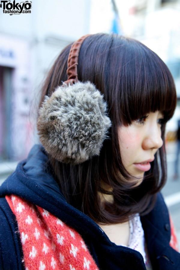 Girl's fur earmuffs in Harajuku