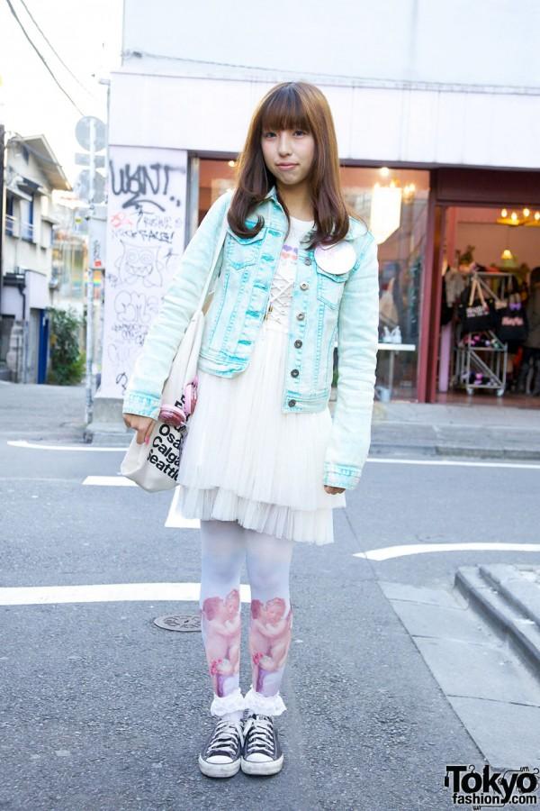 Harajuku Girl's Sevens Denim Jacket & ANAP Negligee Dress