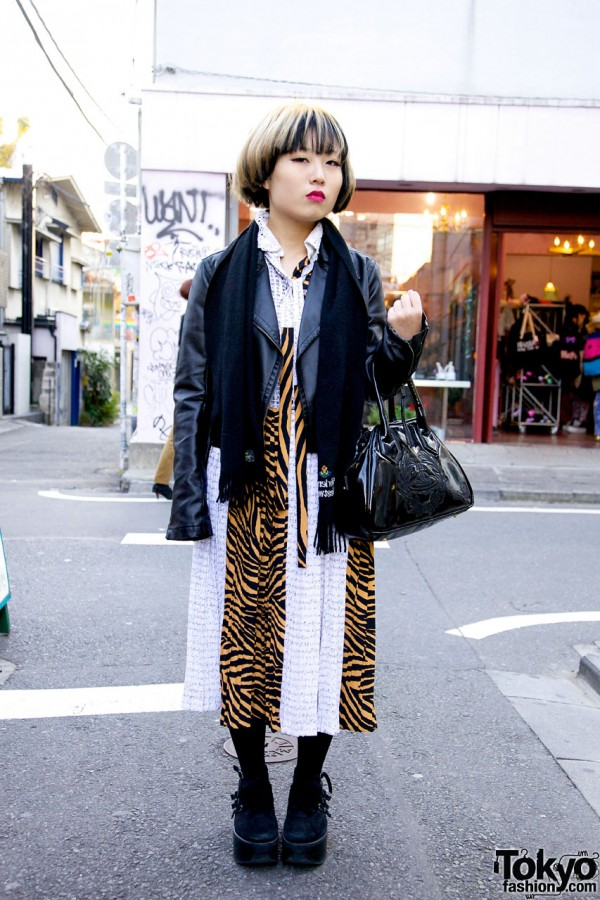 Tower Records Staffer's Vence Leather Jacket & Pieced Kinji Dress