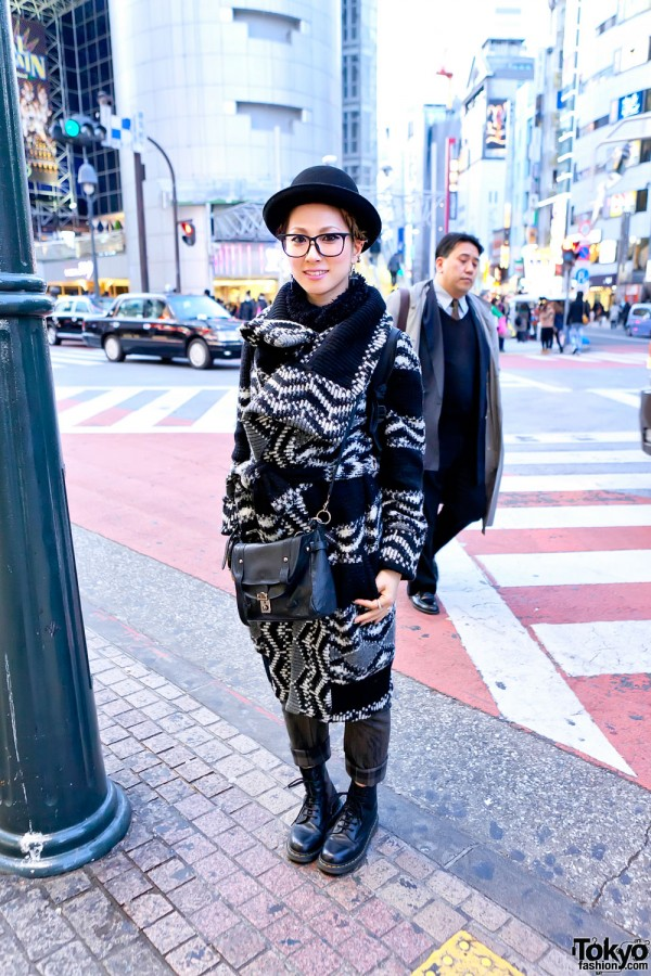 Shibuya Girl in Glasses, Bowler Hat, Long Knit Sweater & Boots