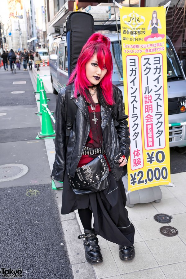 Pink-Haired Harajuku Girl w/ Leather Jacket & New Rock Boots