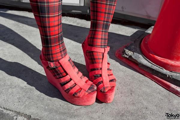 Tartan Stockings & Red Suede Wedges