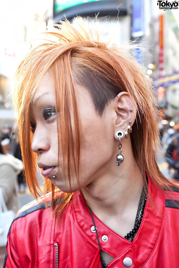 Shibuya Hairstyle & Gauged Skull Earring