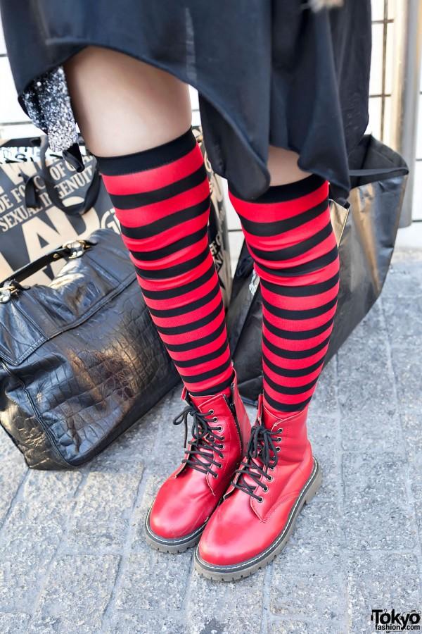 Striped Socks & Red Boots in Shibuya
