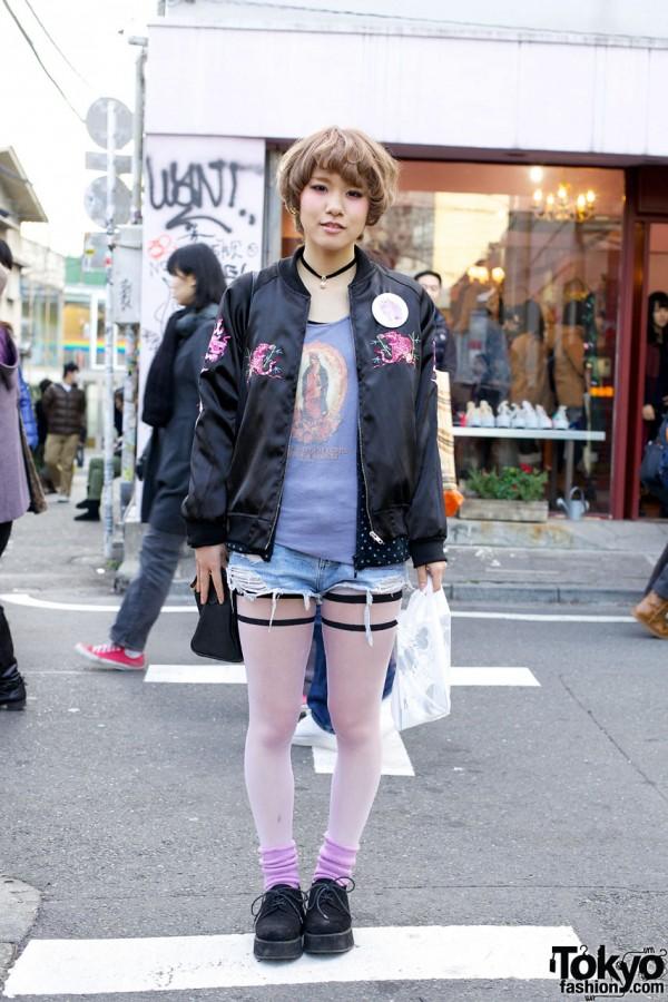 Cute Short Blonde Hairstyle, Nadia Jacket & Cutoffs in Harajuku