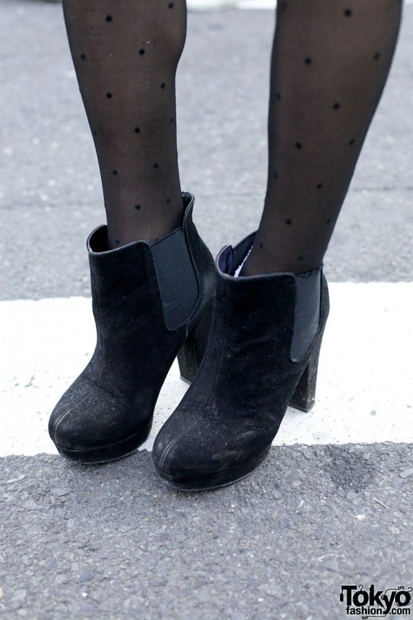 R&E suede booties in Harajuku