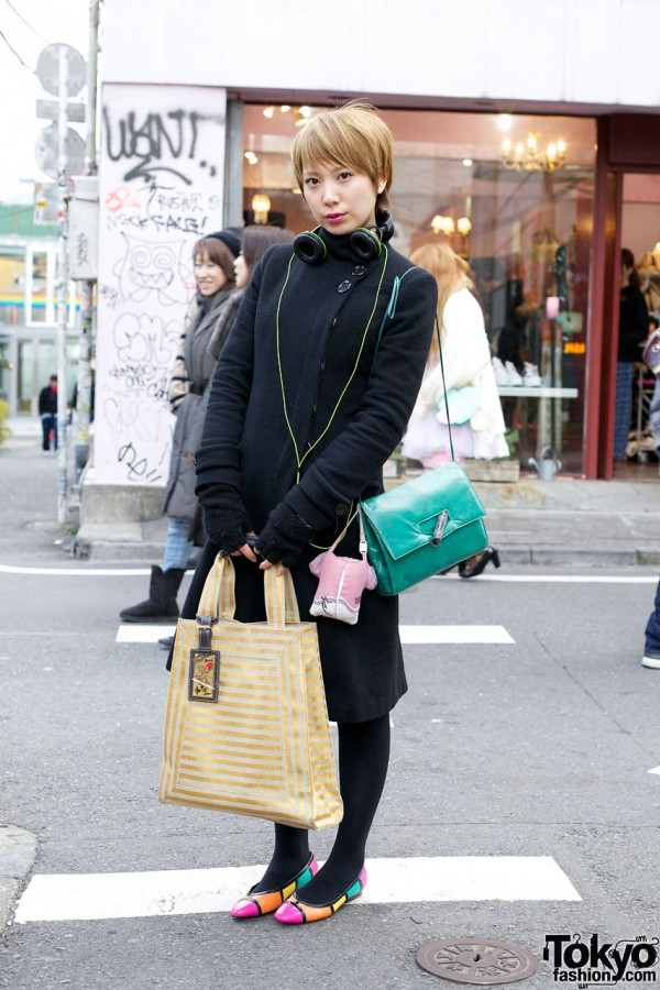 Girl's Off-Center Coat, Color Block Flats & Daisy Duck Bag