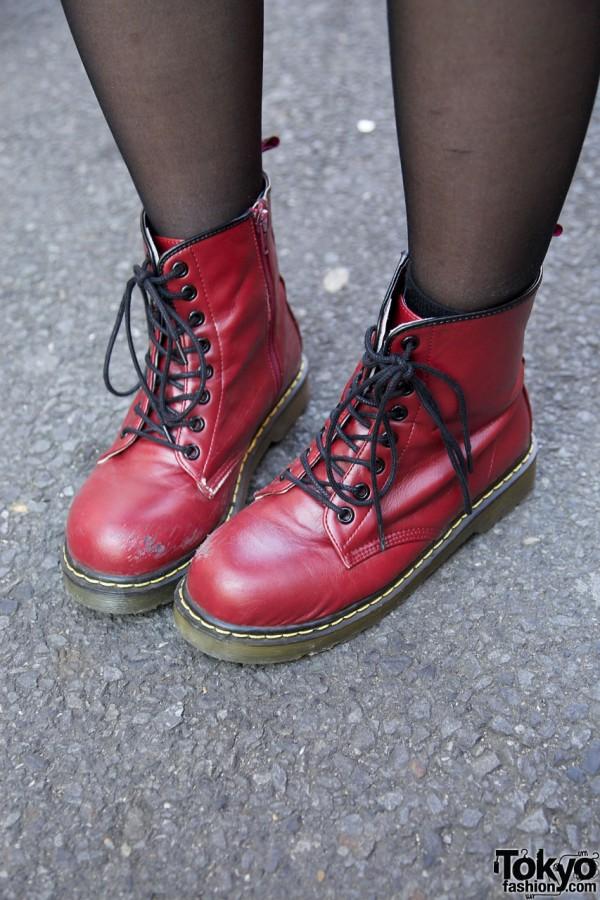 Wego red boots in Harajuku
