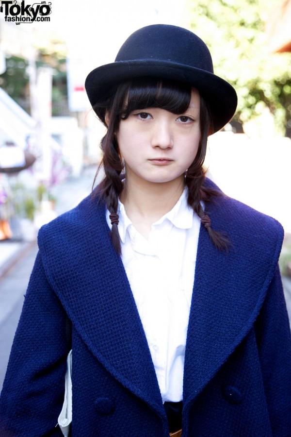 Girl in braids & derby in Harajuku