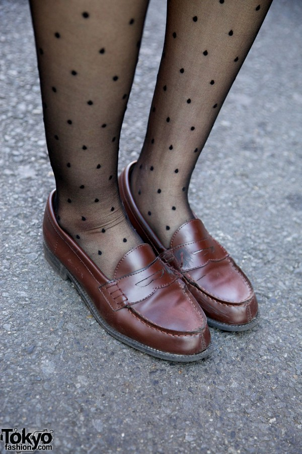 Dotted tights & penny loafers in Harajuku