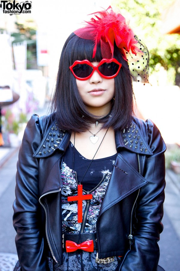 Studded leather jacket & heart sunglasses in Harajuku