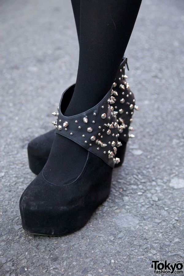 Spiked Glad News platform shoes in Harajuku