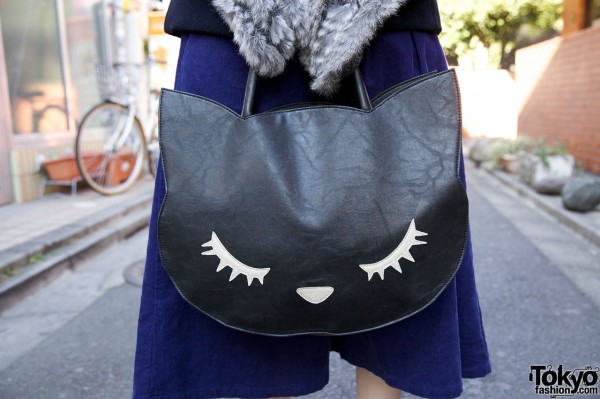 Pu-chan purse w/ face applique in Harajuku