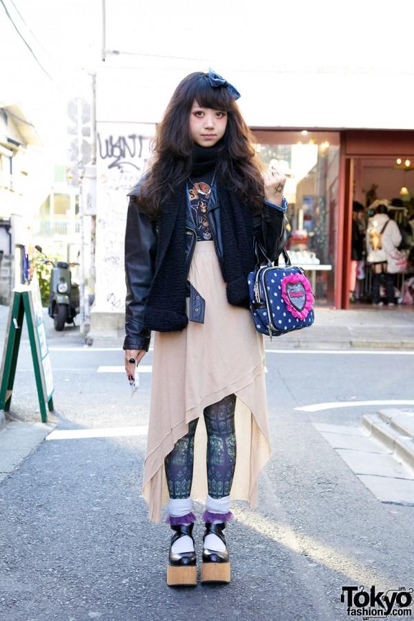 Harajuku Girl w/ Leather Jacket, Guns N' Roses Top & Wooden Platforms