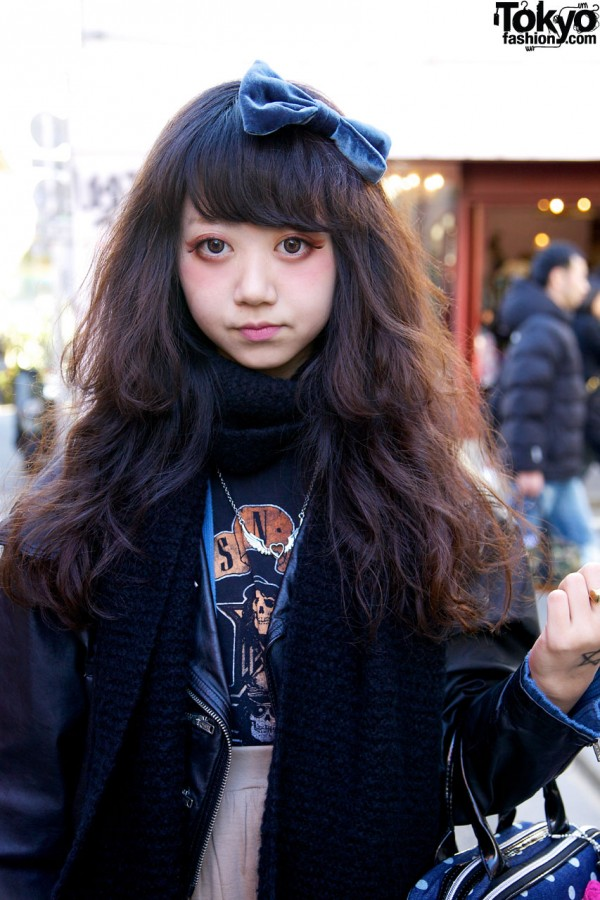 Leather Jacket & Knit Muffler in Harajuku