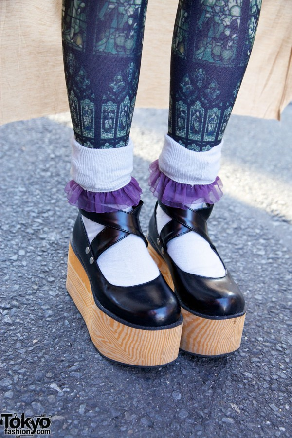 Wooden Platform Shoes & Ruffle Socks