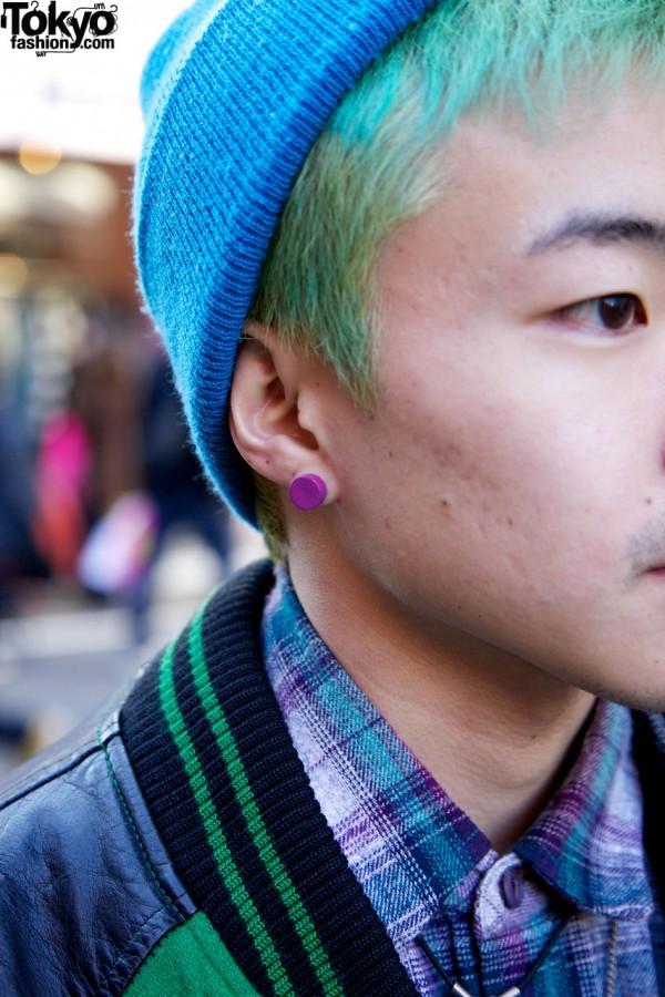 Green Hair & Pink Earring in Harajuku