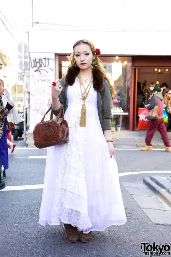 Fur Collared Jacket & Long Lacy Negligee in Harajuku