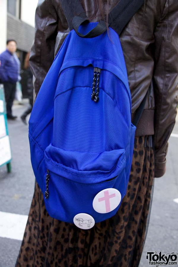 Blue backpack w/ buttons in Harajuku