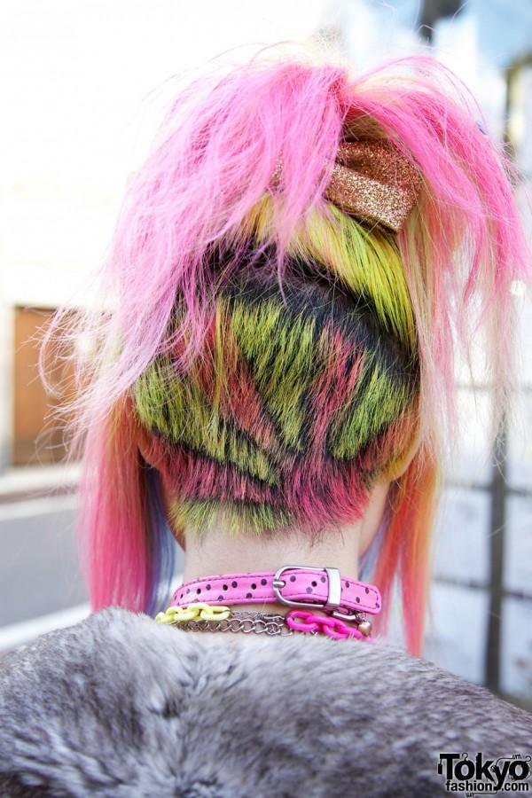 Rainbow Japanese Flag Hairstyle in Harajuku