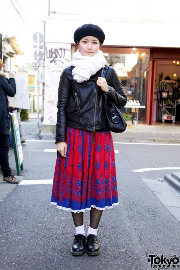 Leather Jacket, Long Skirt, Serge Thoraval & Kawa-Kawa Bag in Harajuku