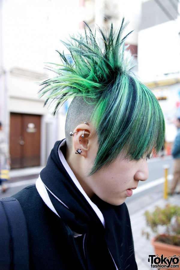Green Spiked Hairstyle & Piercings in Harajuku