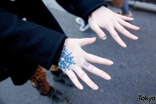 Hand Tattoos or Body Art in Harajuku