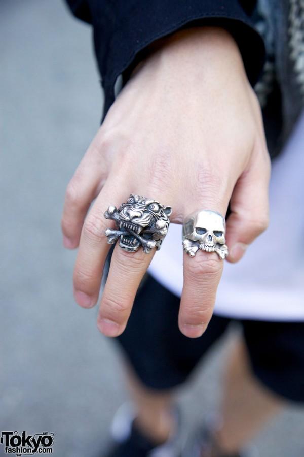 Neighborhood Skull Ring & Silver Tiger