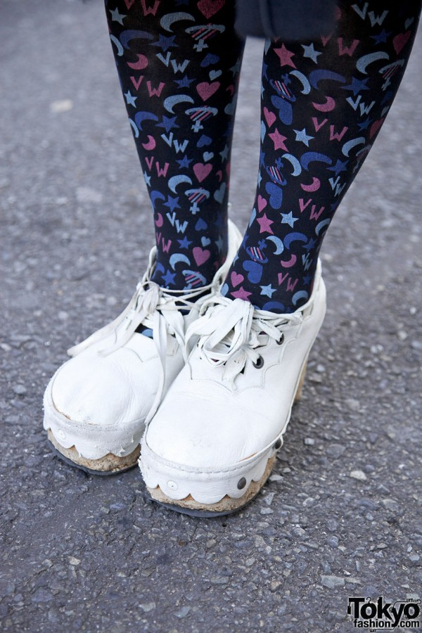 Resale clogs & print tights in Harajuku