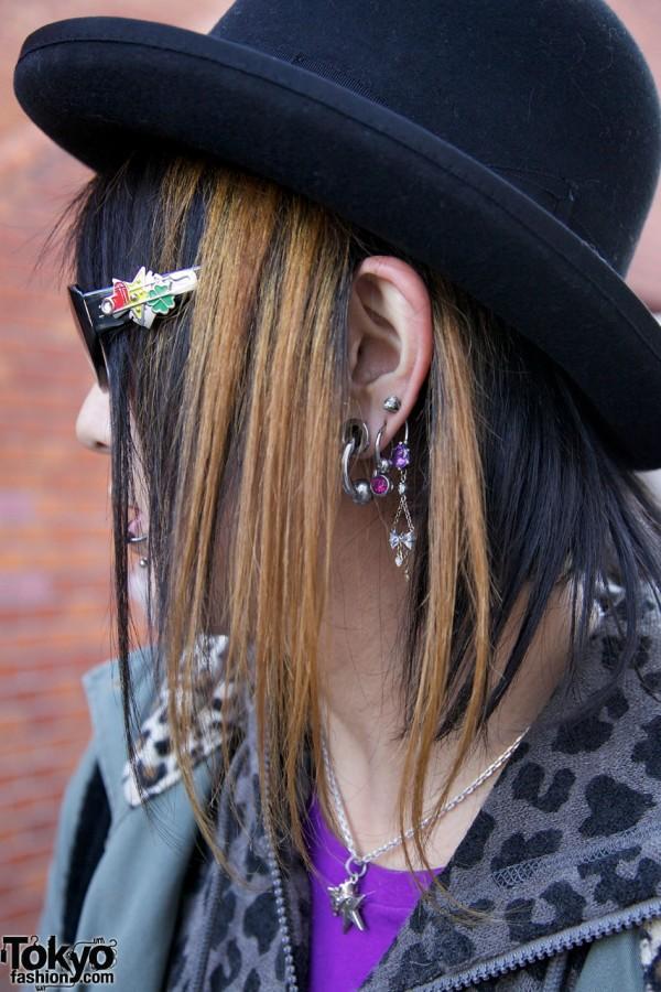 Multiple earrings & hat in Harajuku