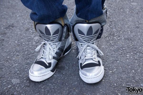 Silver Adidas sneakers in Harajuku