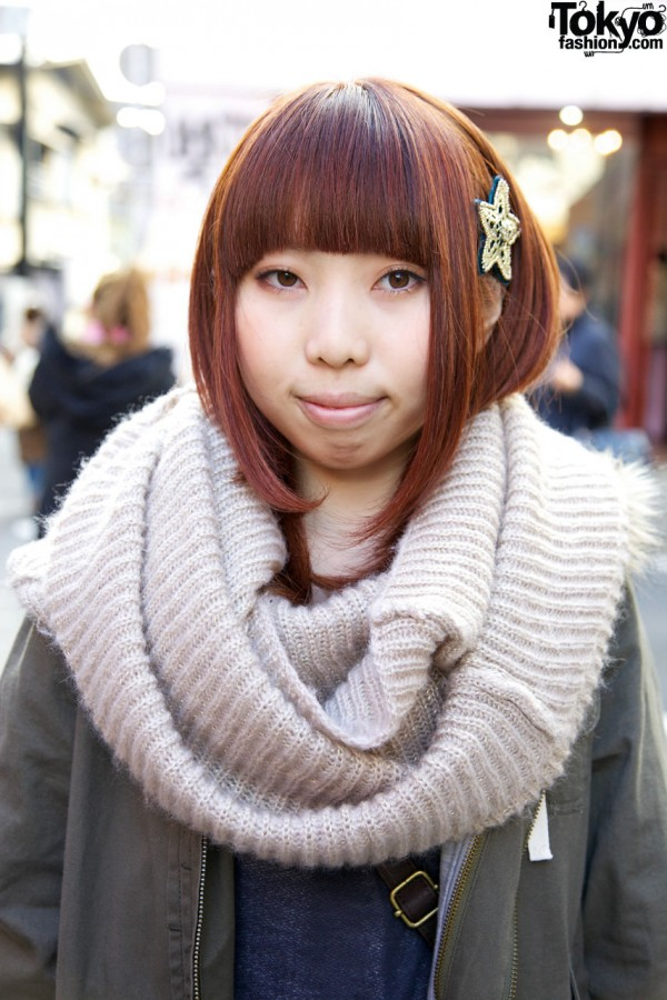 Cozy cowl scarf in Harajuku