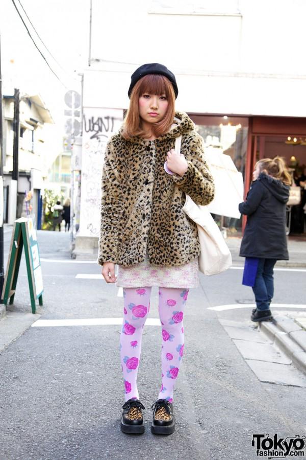 Harajuku Girl's Leopard-Print Jacket, Unicorn Pin, Rose Tights & Creepers