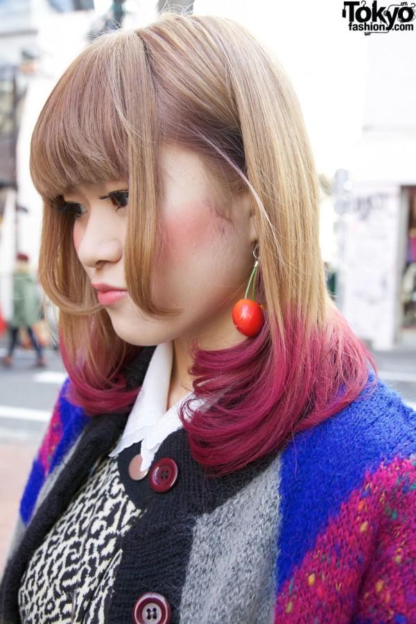 Twin cherry earing & fuchsia hair in Harajuku