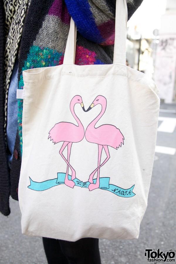Nadia tote bag with flamingos