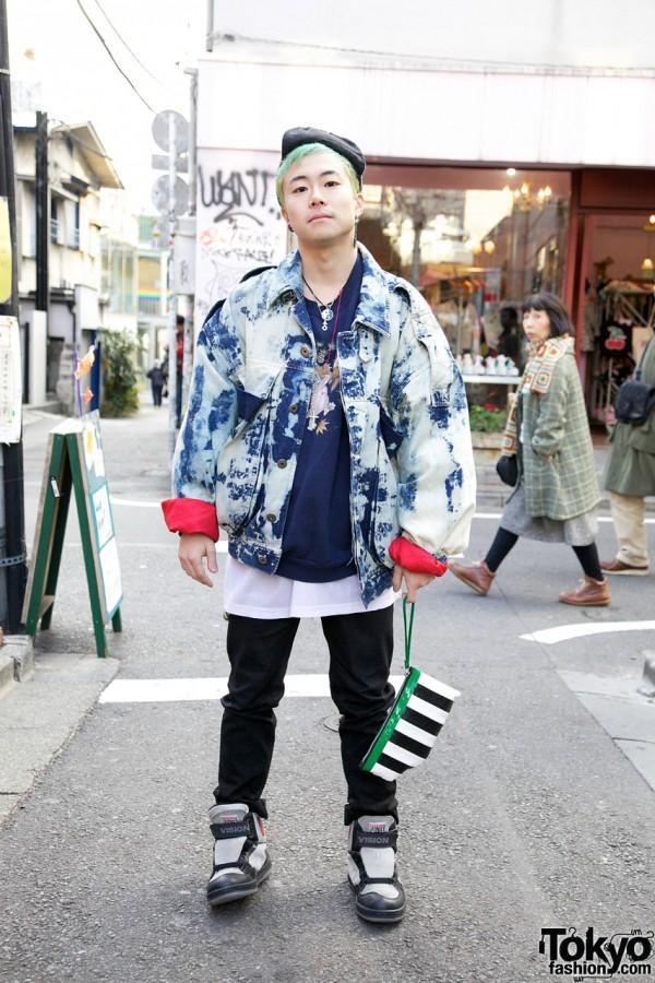 Vintage Acid Wash Denim Jacket in Harajuku