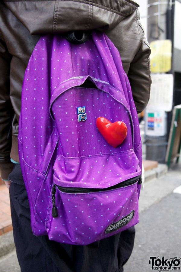 Outdoor products backpack w/ heart in Harajuku