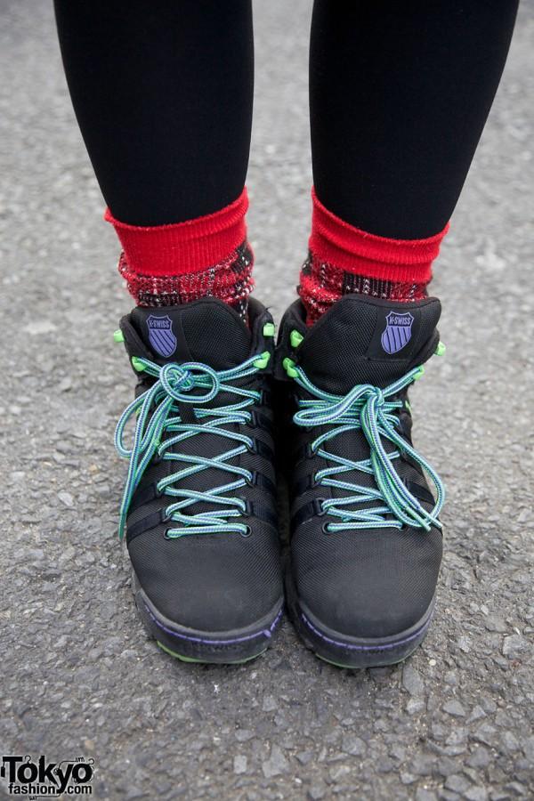Plaid socks & K-Swiss shoes in Harajuku